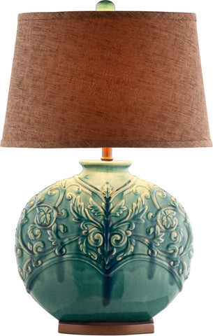 0-002499>OPEN BOX Rochel 1-Light Table Lamp Turquoise Green