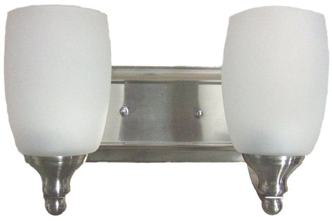 0-009075>OPEN BOX Vanity 2-Light Bathroom Vanity Satin Nickel