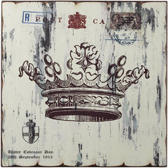 0-015327>16 inchh White Crown Print Wall Decor Washed White