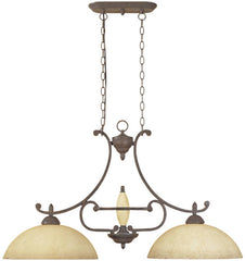 0-009081>OPEN BOX Salerno 2-Light Island Pendant Ancient Oak