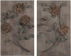 0-011736>30 inchh Set of 2 Wooden Wall Panel with Handpainted Metal Flowers Natural Washed Wood