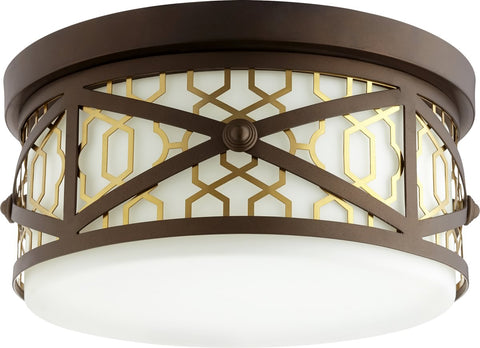 0-005460>Renzo 3-light Ceiling Flush Mount Aged Brass w/ Oiled Bronze