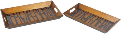 0-020252>Set of 2 Branch Trays Painted