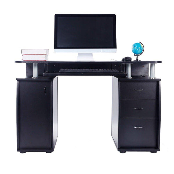 15mm MDF Portable 1pc Door with 3pcs Drawers Computer Desk (A Box) Black