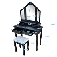Tri-fold Mirror Dresser with Dressing Stool Black
