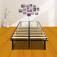 74*38*14 Wooden Bed Slat and Metal Iron Stand Twin Size Iron Bed Black