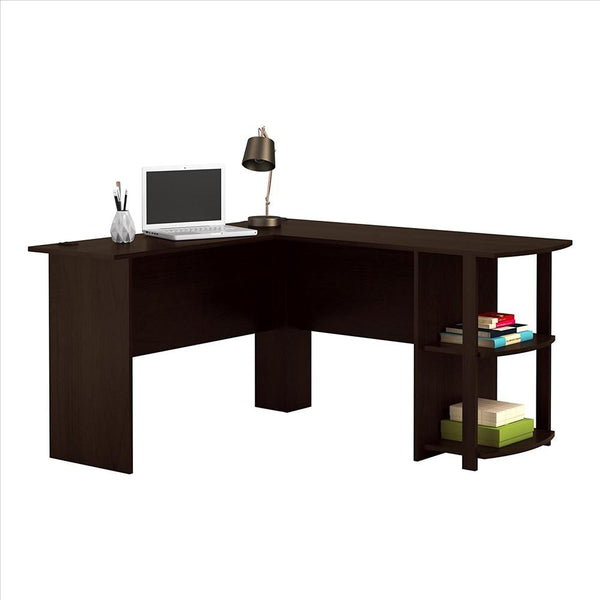 L-Shaped Wood Right-angle Computer Desk with Two-layer Bookshelves Dark Brown