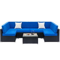 7PCS Furniture Sectional PE Wicker Rattan Sofa Set