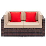 2pcs Sofa Furniture Wicker Rattan Deck Couch Arm Single Sofa