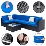 6 Piece Sectional Rattan Furniture Set Wicker Furniture Sofa Set w/ Cushions