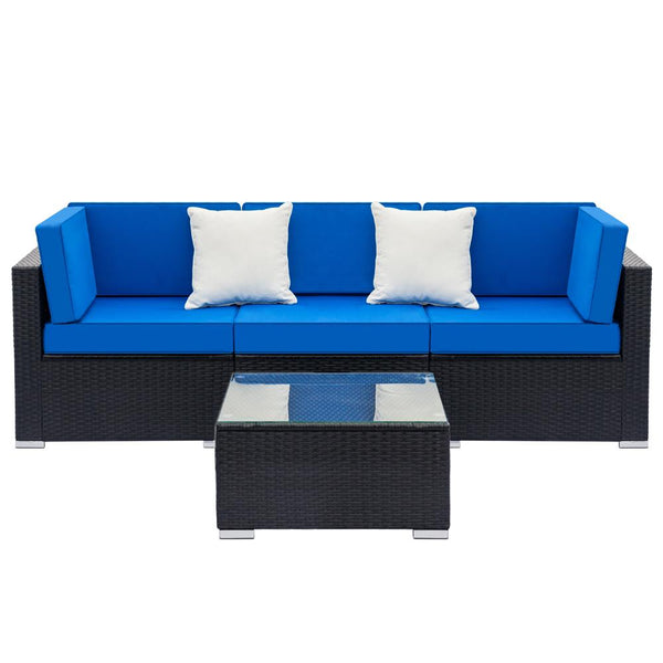 Black Rattan 4 Seater Sofa with Blue Cushions