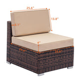 6 PCS Rattan Wicker Sofa Sectional Furniture Set