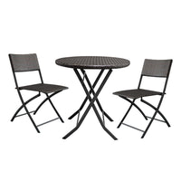 2pcs Arm Chairs 1pc Round Coffee Table Rattan Chair Set Brown Gradient