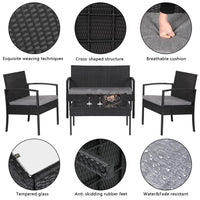 4 PCS Outdoor Patio Rattan Wicker Furniture Set with Table Sofa Cushioned Black