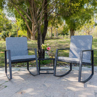 3 PCS Rocking Chairs Set Outdoor Patio Furniture with Glass Coffee Table (Black)
