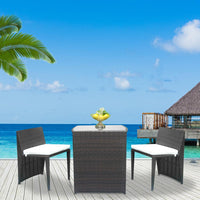 2pcs Bar Chairs 1pc Bar Table Rattan Chair Set Brown Gradient