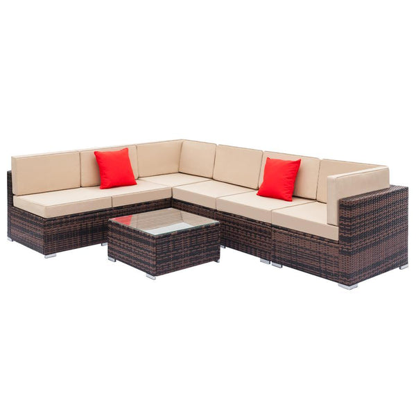 7pcs Wicker Furniture Rattan Sectional Sofa Set