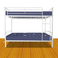 Iron Bed Bunk Bed with Ladder for Kids Twin Size White