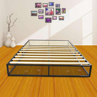 Simple Basic Iron Bed Queen Size Black