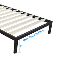 Square Horizontal Bar Head of Bed Iron Bed Twin Size Black