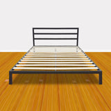Square Horizontal Bar Head of Bed Iron Bed Queen Size Black