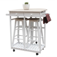 Foldable With Wooden Handle Semicircle Dining Cart With Round Stools White