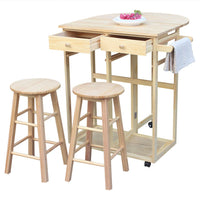 Semicircle Solid Wood Folding Dining Cart with 2 Free Stools Natural