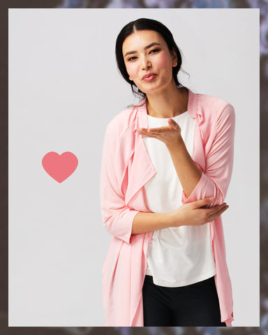 Kiss fashion mom mothers day gift guide pink cardigan