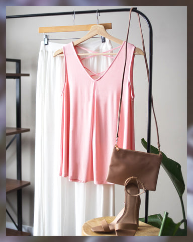 tank skirt outfit bamboo chiffon pink white mom gift guide mothers day peony top