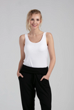 Womens Organic Bamboo Viscose Essentials Tanks in white - LNBF Sustainable Clothing Designed in Canada