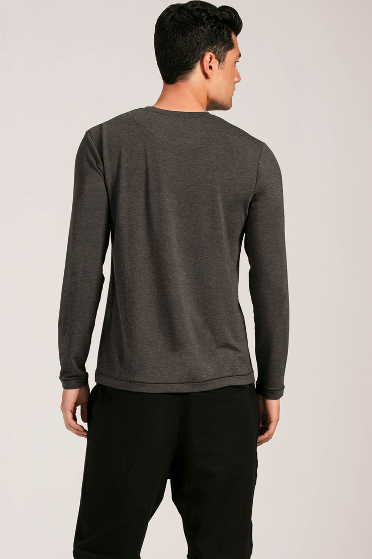Owen Crew Neck Long Sleeve - Charcoal
