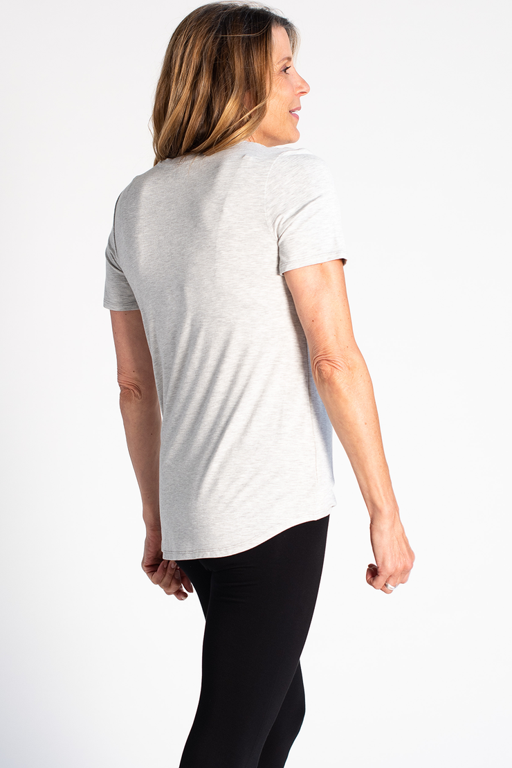 Gracie Crew Neck Tee - Grey Melange
