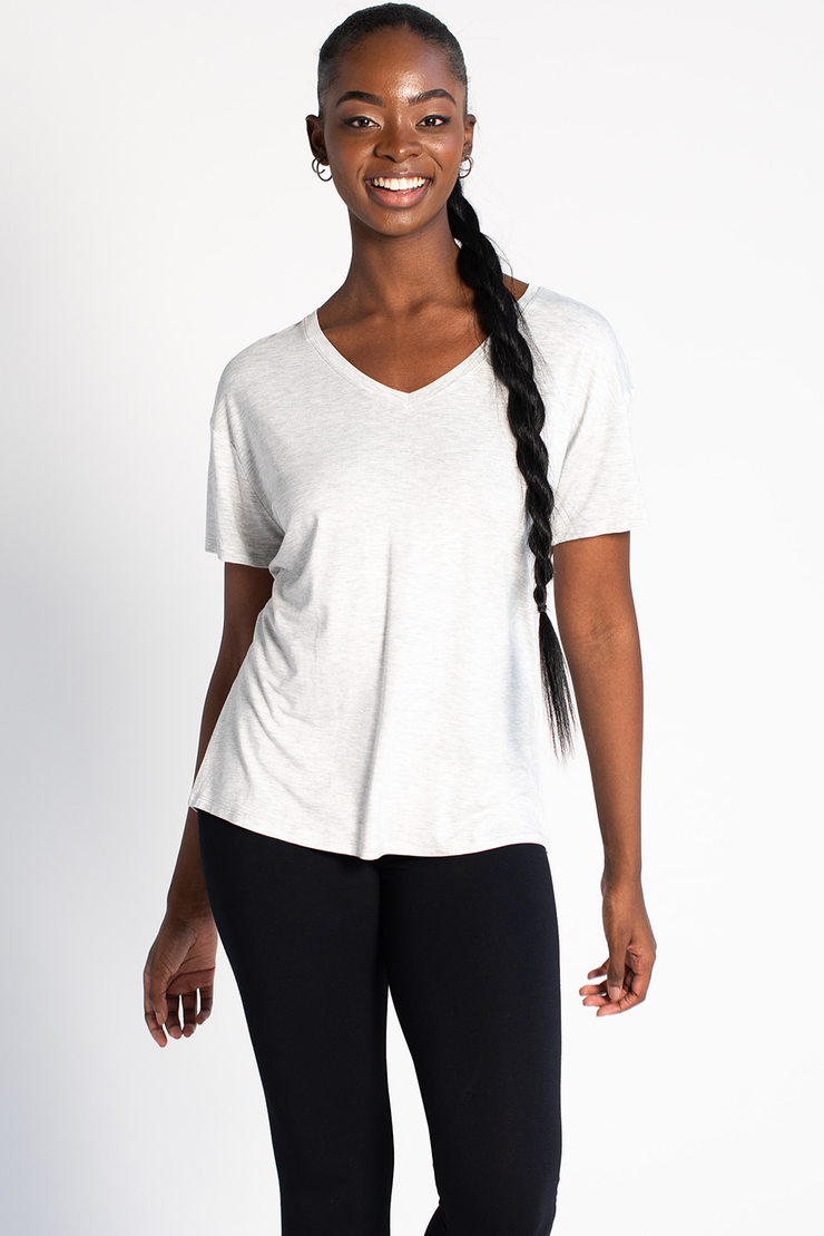 Becca Relaxed Fit V Neck - Grey Melange