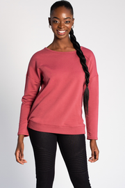 Riley Crossover Sweater - Deep Rose