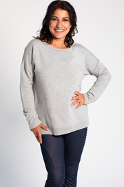 Riley Crossover Sweater - Grey Melange