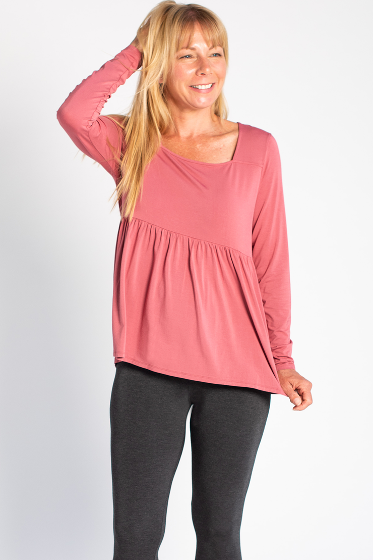 Kara Square Neck Top - Deep Rose