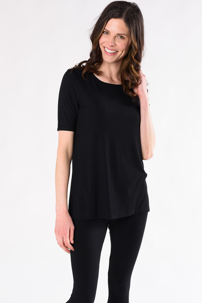 Jillian Ribbed Tee - Black