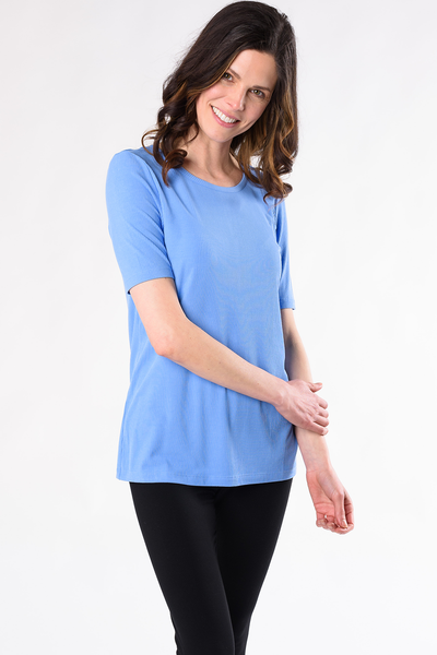 Jillian Ribbed Tee - Periwinkle Blue