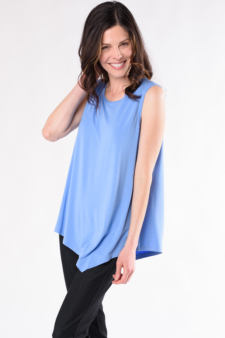 Kyra Asymmetric Top - Periwinkle Blue