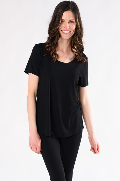 Krista Ribbed Tee - Black