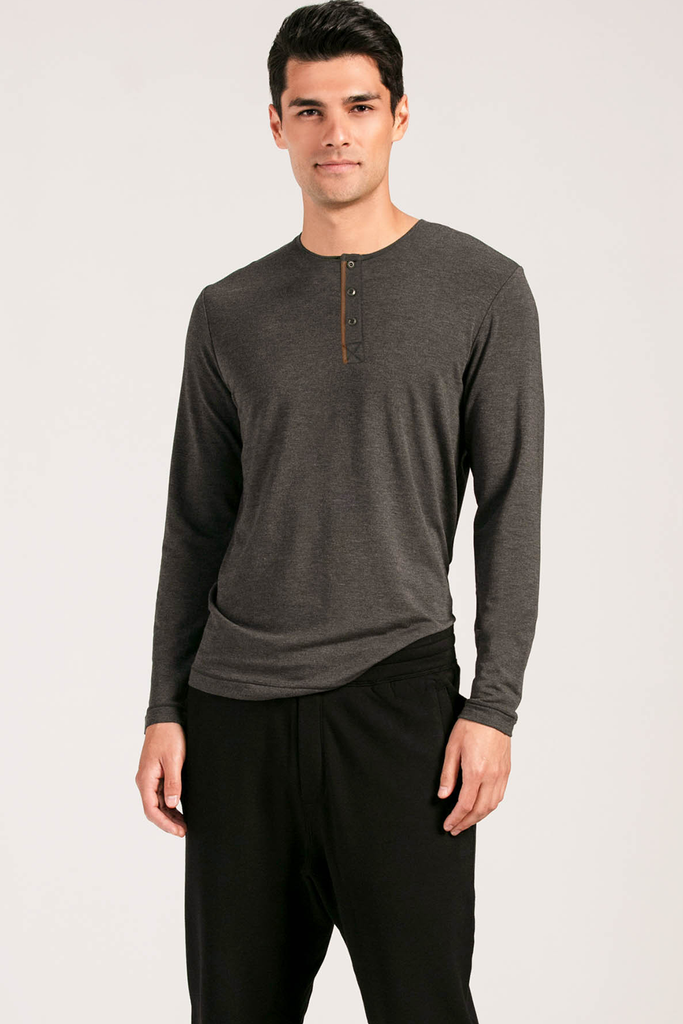 Mens Organic Bamboo Viscose Essential Long Sleeve Tops in Charcoal - LNBF Sustainable Clothing Designed in Canada