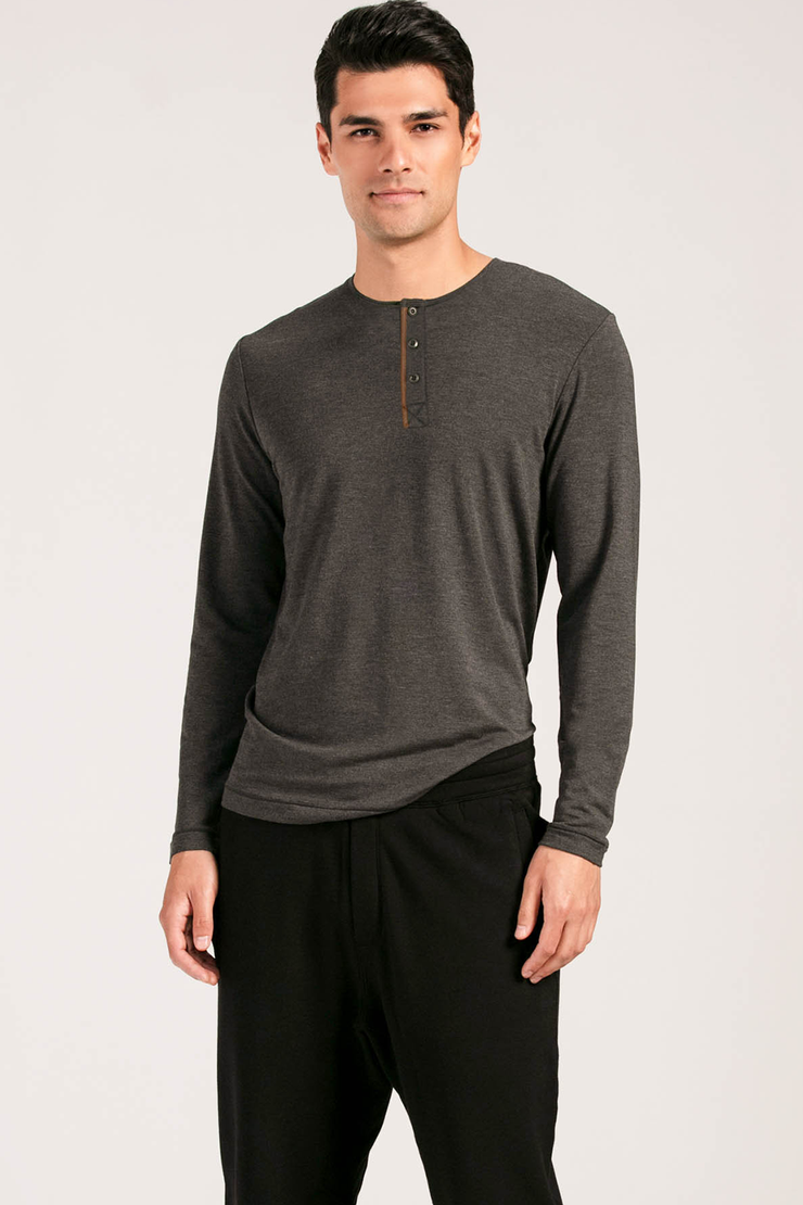 Noah Long Sleeve Henley - Charcoal
