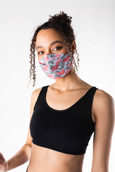 3-Pack Panelled Face Mask - Pink Florets Set