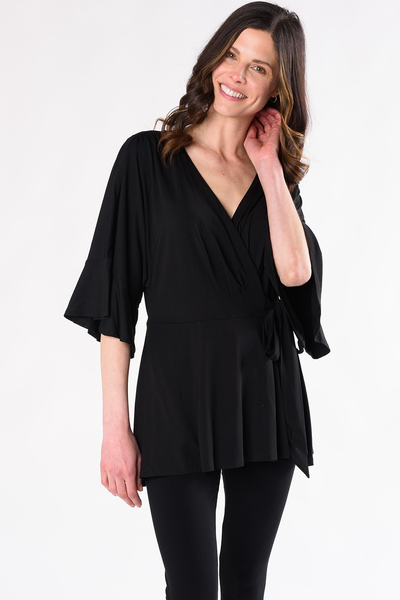 April Wrap Top - Black