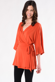 April Wrap Top - Tangerine
