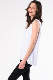 Janice V-Neck Smocked Blouse - White