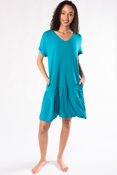 Kendra Dropped Waist Dress - Turquoise