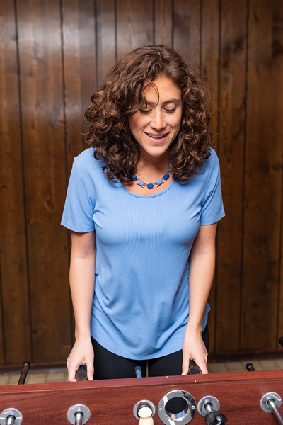 Krista Ribbed Tee - Periwinkle Blue