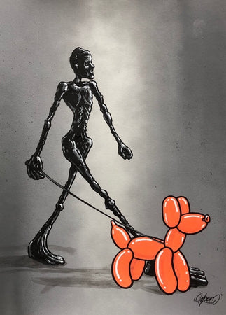 SHEM - Giacometti vs Jeff Koons (orange version) - Original