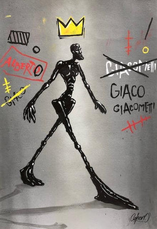 SHEM - Giacometti vs Basquiat (grey version) - Original